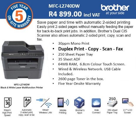 Brother 5 Year Laser Promo