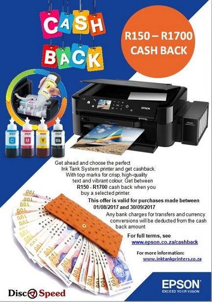 Cash Back Promotion - Epson Ink Tank Printers available from