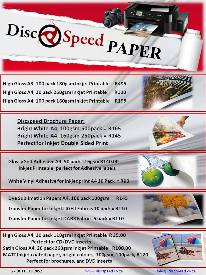 Discspeed Papers - Epson Ink Tank Printers available from