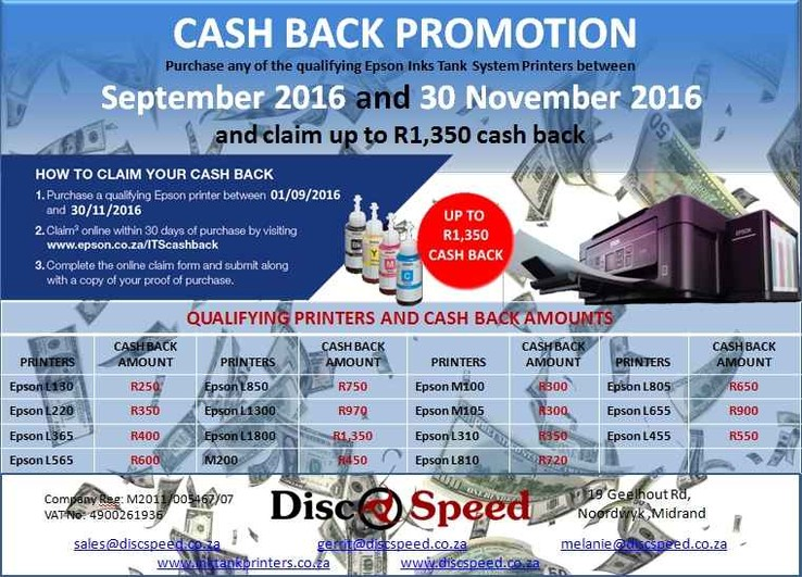 Epson Cash Back Promotion - Epson Ink Tank Printers