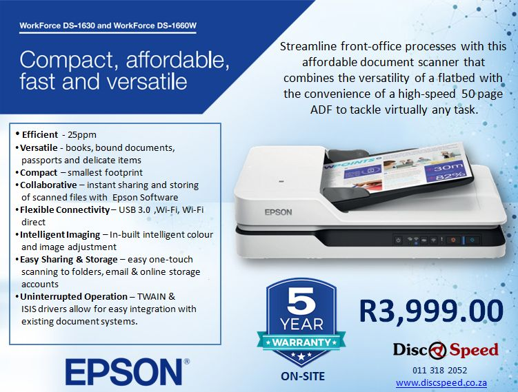 Epson 1660W Scanner, with 5 Year On Site warranty - Epson Ink Tank