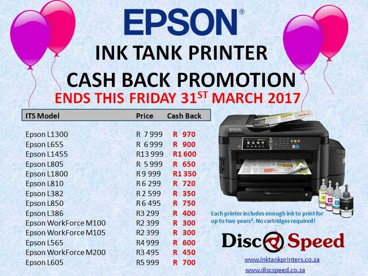 Epson March Cash Back Promotion - Epson Ink Tank Printers