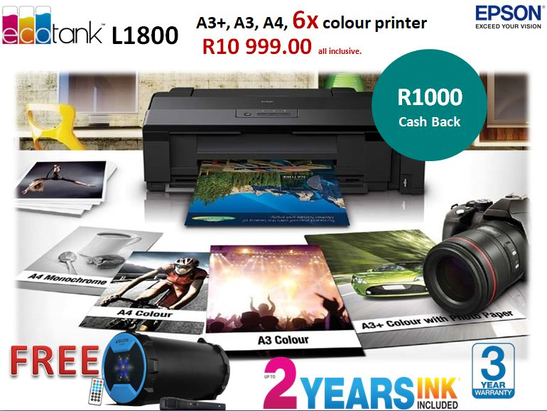 L1300 L1800 - Epson Ink Tank Printers available from Discspeed