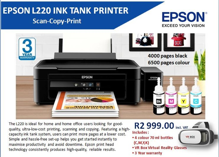 Epson L220 Promotion - Epson Ink Tank Printers available