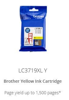 Brother LC3719XLC High yield Yellow ink cartridge